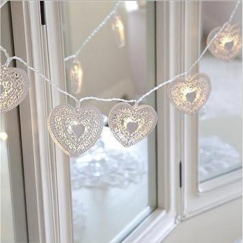 Valentineu0027s Day Decorated LED White Iron Heart Shaped Lamp String Dreamyth  (white, 1M