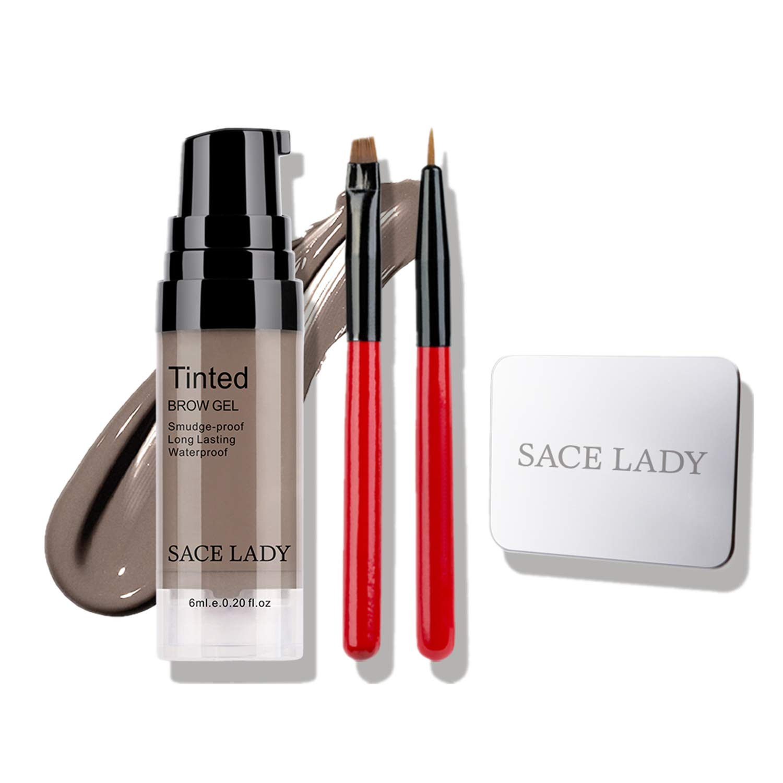 SACE LADY Long Wearing Eyebrow Gel Makeup Kit, Waterproof Tint Brow Enhancer Color Gel with Eyebrow Sculpting Brushes, Makeup Mixing Blending Palette Tool (5.Brunette)