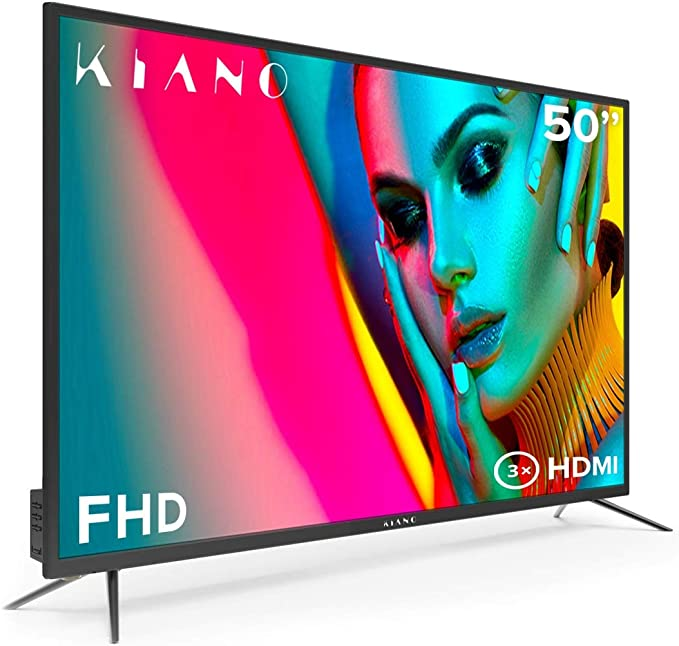 Televisor Kiano Slim TV 50 Pulgadas [127 cm Full HD] (Triple Tuner, DVB-T2, Ci+) Multimedia a través del Puerto USB, Televisor 50 Pulgadas TV 50 (PVR, Dolby Audio, HDMI, Direct LED, FHD)
