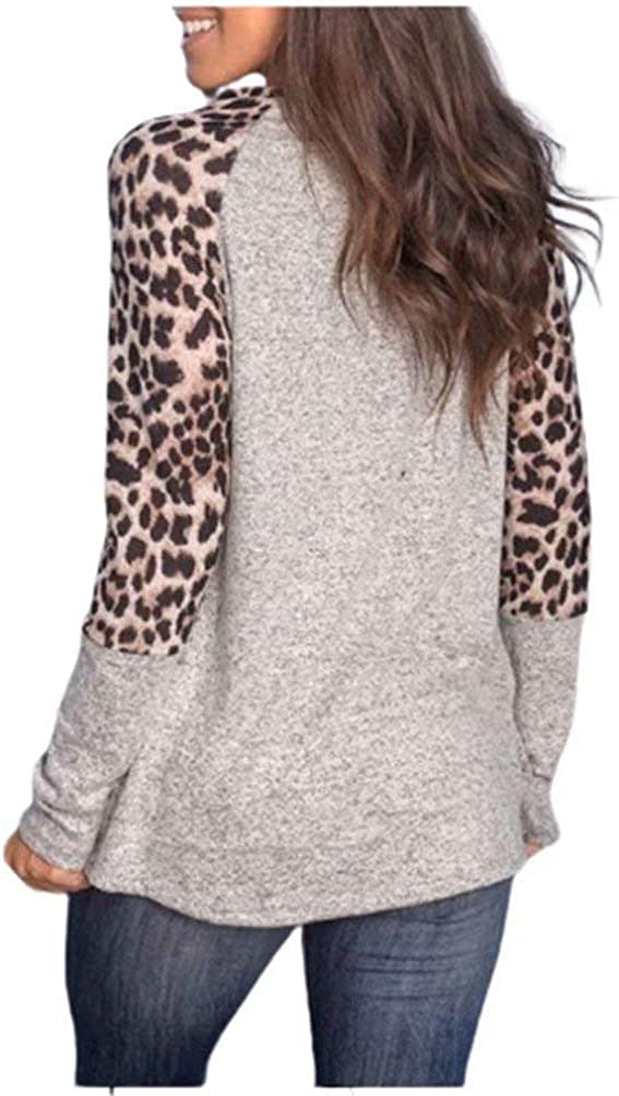 Women Tops Leopard Print Stitching Long Sleeve T-Shirt Round Neck Color Block Tunic Shirts for Women