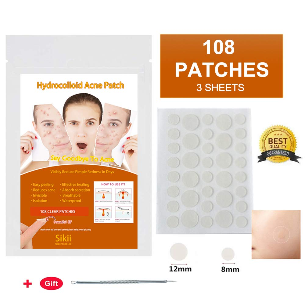 Hydrocolloid Acne Patch,Pimple Patch Absorbing Cover Blemish, Invisible Pimple Patch Healing Patch Clean and Clear Acne Spot Treatment,Two Sizes (36 Patches x 3) by sikii