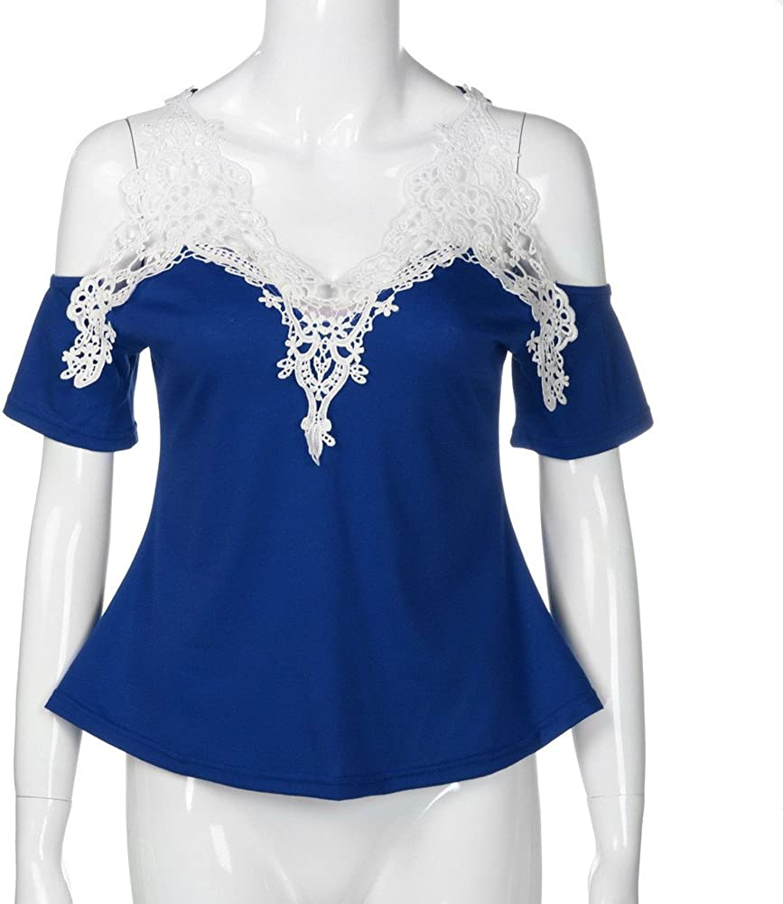 Limsea 2019 Women Tops Blouse Shirt Cold Shoulder Lace Patchwork Long Sleeve Sweatshirt Pullover