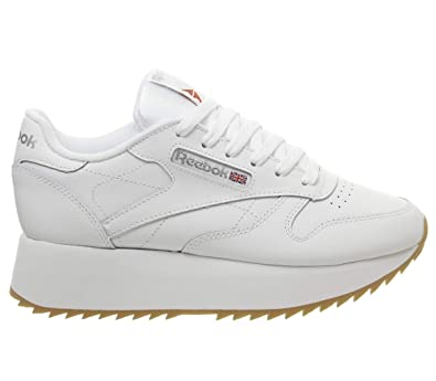 3eeaf3a14bdb7 Reebok Classic Leather Double Trainers White  Amazon.co.uk  Shoes   Bags