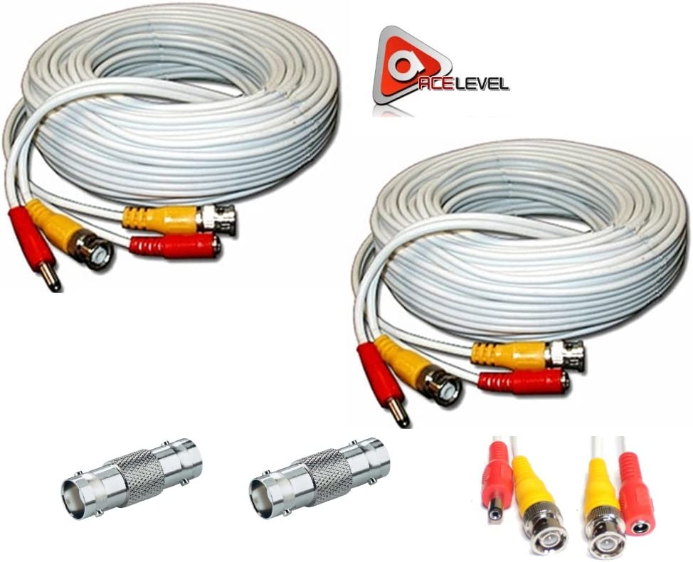 ACELEVEL 2 Pack Premium 100Ft.Thick BNC Extension Cables for ZMODO Systems White