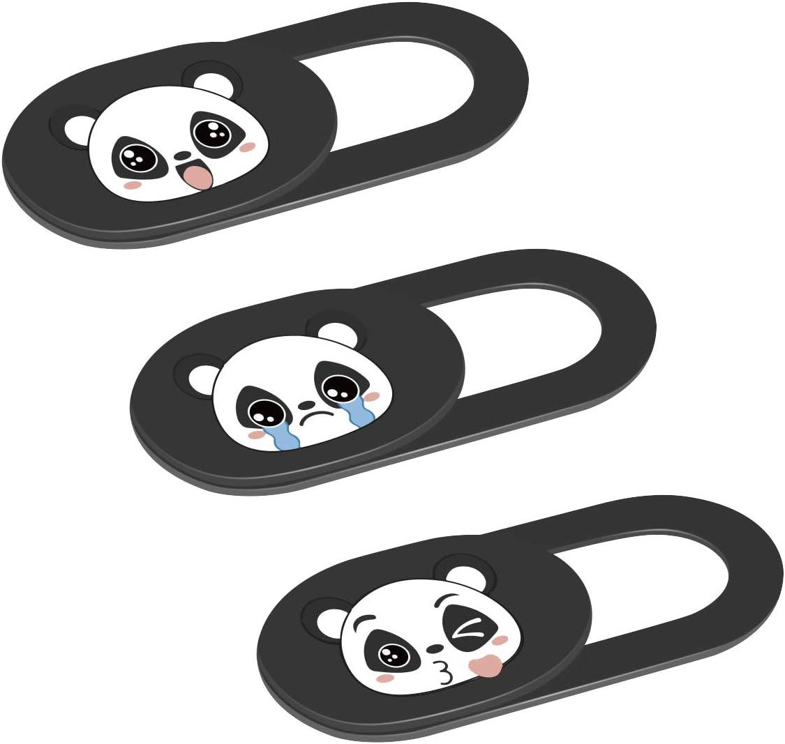 Webcam Camera Cover Slide 0.02-Inch Ultra-Thin Cute Pattern Camera Cover for MacBook, iMac, Laptop, PC, iPad, iPhone, Smartphone, Protect Your Visual Privacy (Cute Panda-Black)