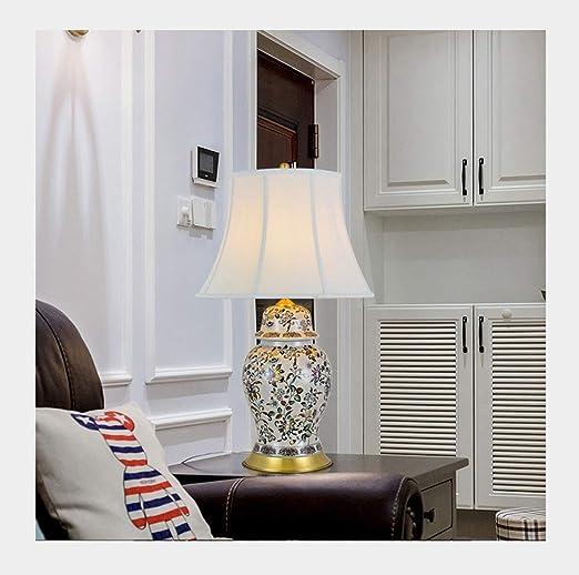 & Luz para Leer Lámpara de Mesa Dormitorio Simple Mesa de Centro de cerámica Decorada Lámpara de Noche Lámpara de Noche (Size : B77*47cm): Amazon.es: Hogar