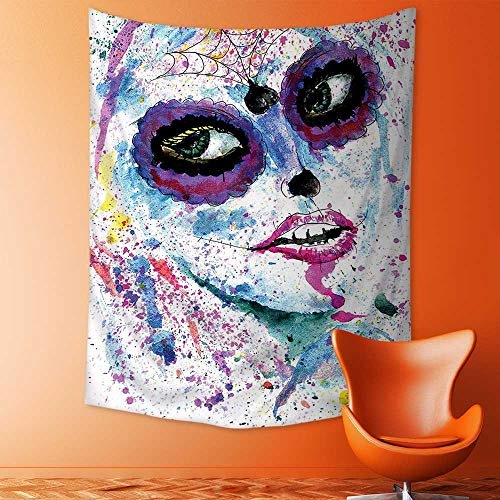 (aolankaili Tapestry Wall Hanging Grunge Halloween Lady with Sugar Skull Make Up Creepy Dead Face Gothic Woman Wall Tapestry for Bedroom Dorm)