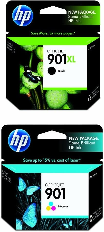 HP 901XL Black and HP 901Tri-Color Ink Cartridge Bundle (CC654AN, CC656AN)