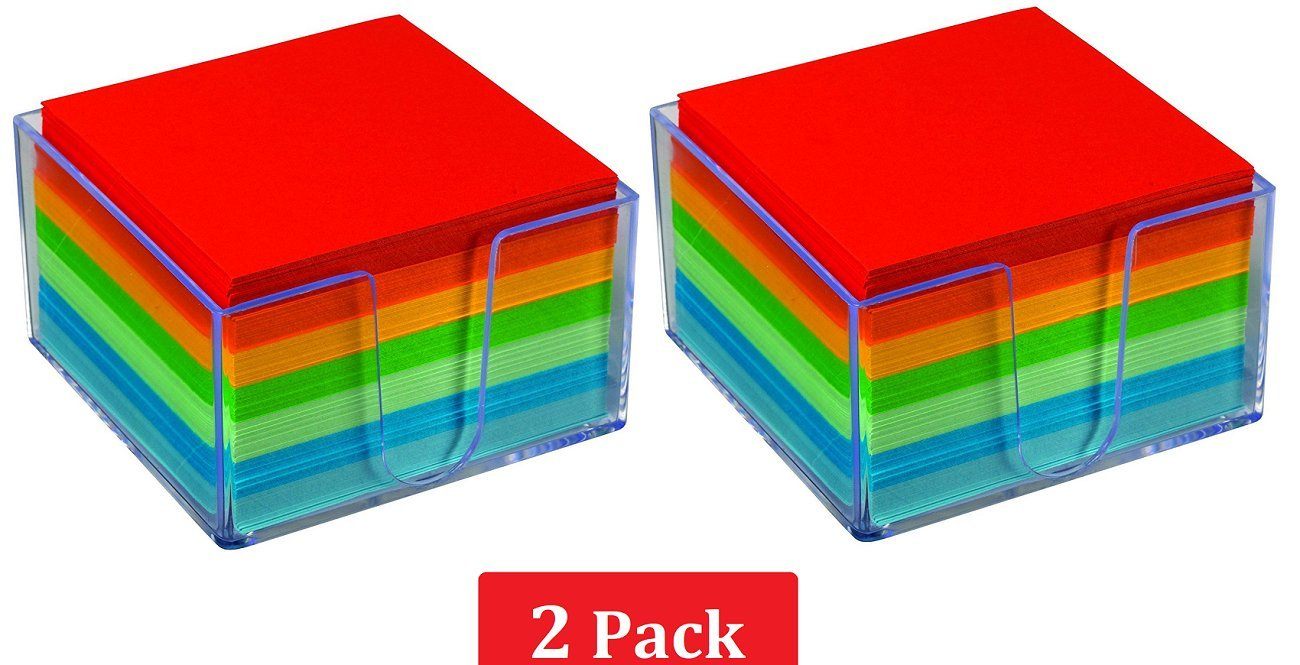 1InTheOffice Memo Cube, Assorted Colors Memo Pad 500 Sheets''2 Pack''