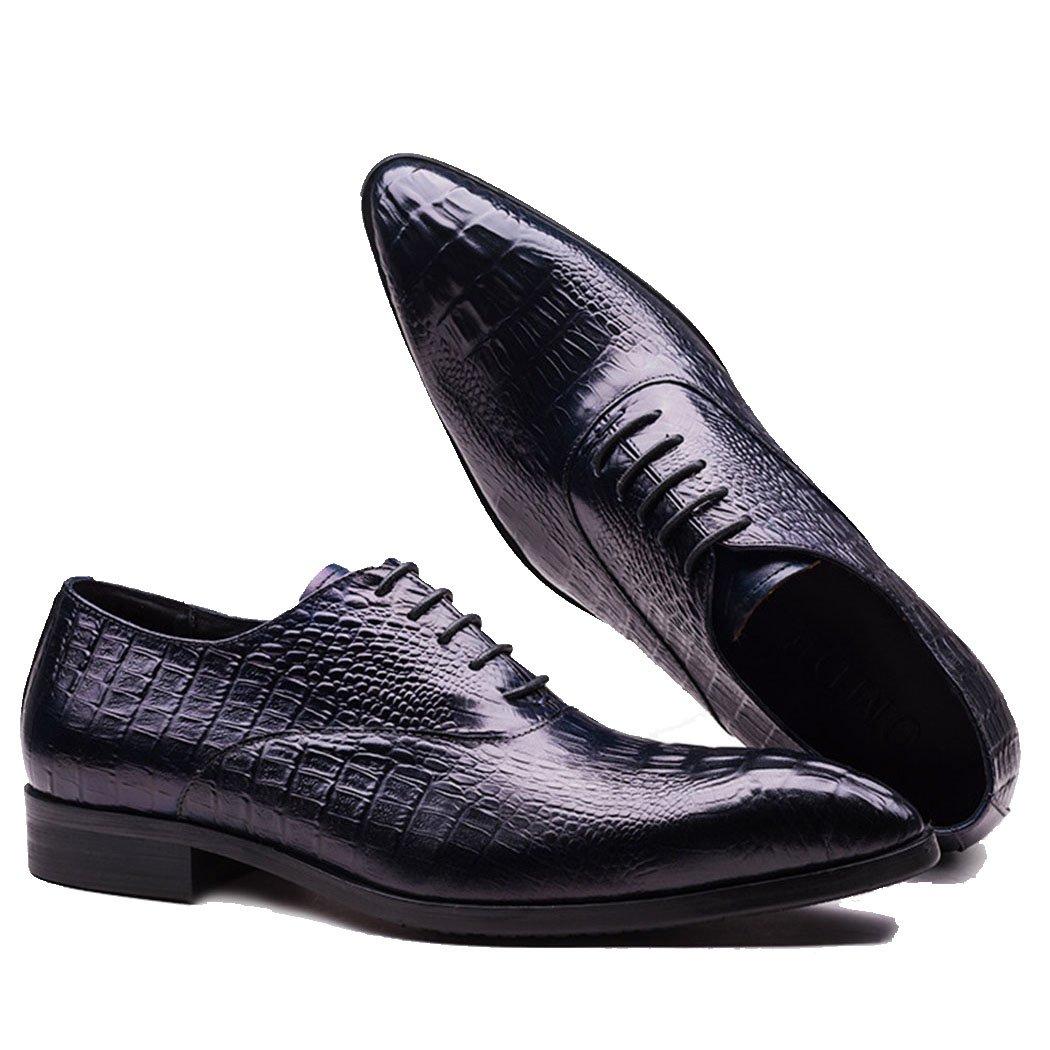 GAOLIXIA Zapatos de Negocios Formales de Cuero Genuino de los Hombres Zapatos de Trabajo de Punta de Moda Zapatos de Estilista de Pelo Casual Fiesta de Noche de Gran Tamaño 41|Azul