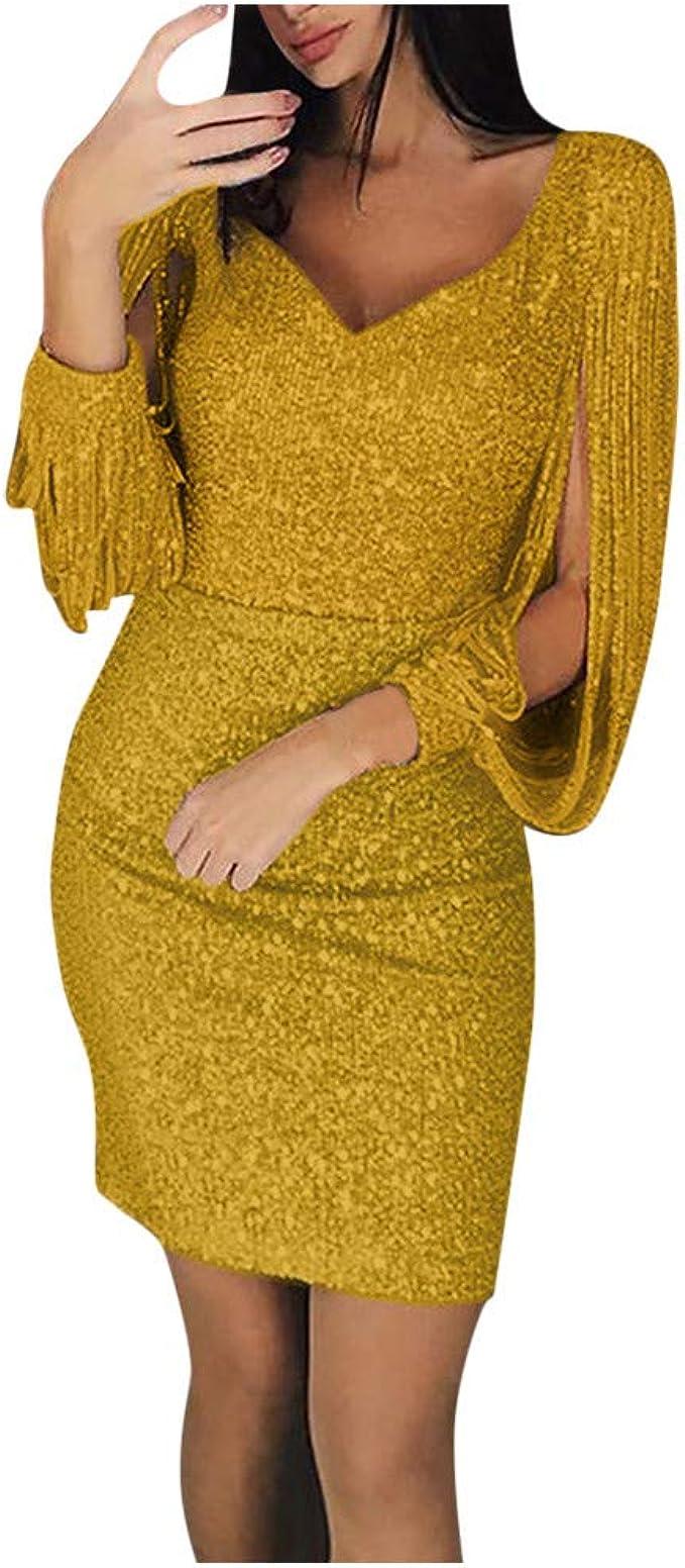 Bumplebee Paillettenkleid Damen Kurz Grün/Rosa/Silber Abendkleider Sexy  Glänzend Partykleid Elegante Festliches Kleid Fransen Ballkleid  V-Ausschnitt