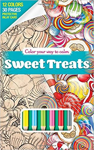 Amazon Sweet Treats Adult Coloring Book Set With 12 Colored Pencils Included Travel Size On The Go Color Your Way To Calm