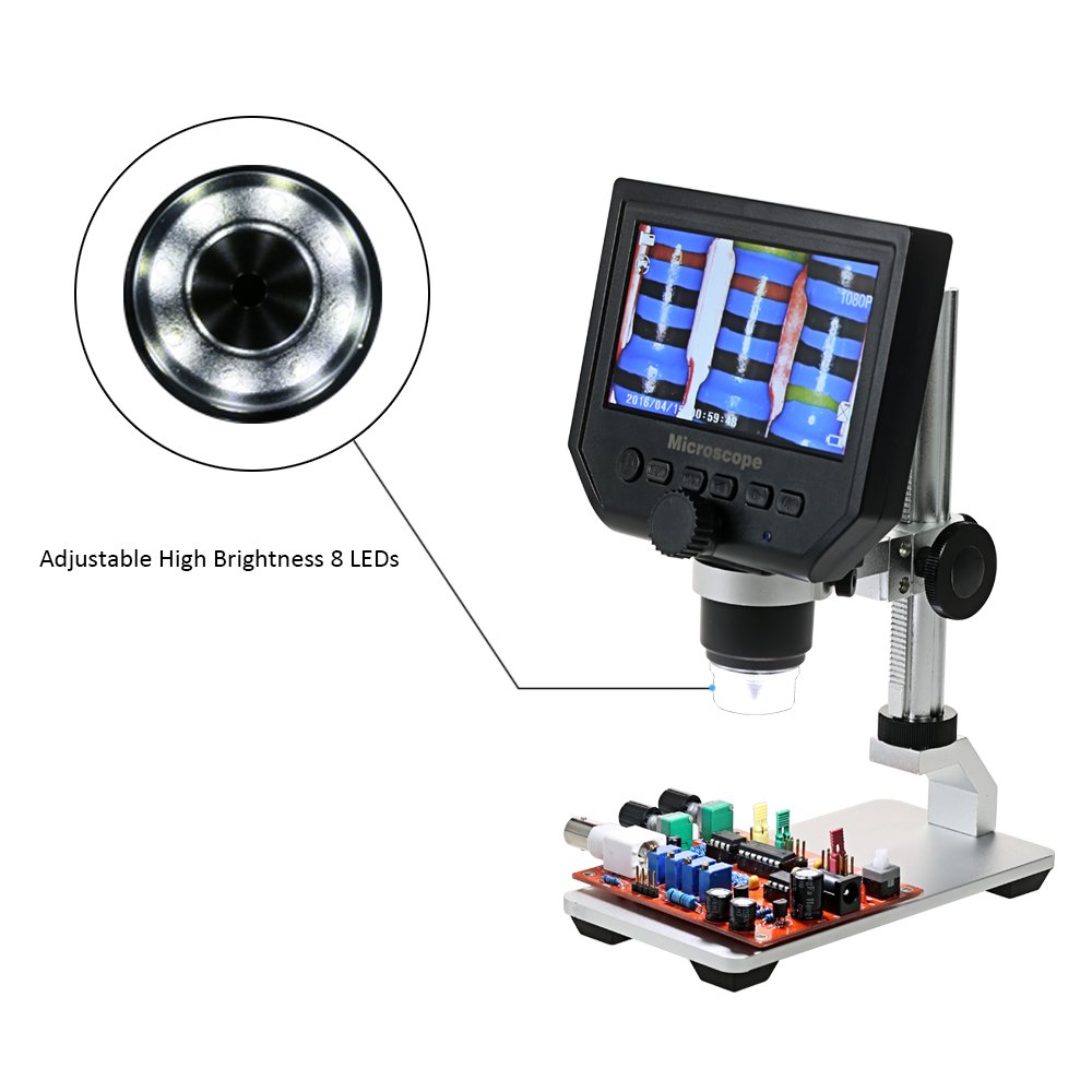 Digilife Digital USB Microscope, 600X 4.3'' HD 3.6MP LCD Continuous Magnification Zoom, Digital Microscope Video Camera with Adjustable 8 LEDs, 1080P/720P/VGA Resolution, Metal Stand, Rechargeable Battery Diglife