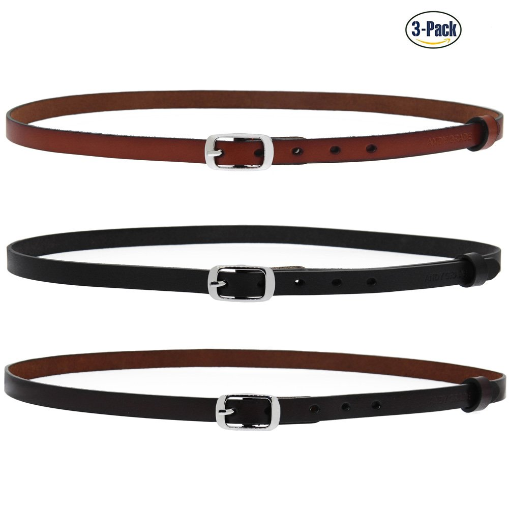 Set of 3 Women's Genuine Cowhide Leather Stylish Thin Dress Belt Fashion Vintage Casual Skinny Belts for Jeans Shorts Pants Summer for Women With Alloy Pin Buckle By ANDY GRADE (Style C)