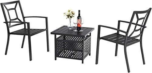 PHI VILLA 3 Piece Patio Metal Dining Arm Chairs and Umbrella Table Bistro Furniture Set