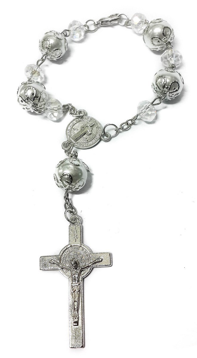 Saint Benedict Evil Protection Medal White Clear Crystal Beads Rosary Car Auto Mirror Rearview