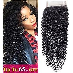 "Amella Hair Brazilian Curly Hair 4x4 Free Part Lace Closure (16"" lace closure) 8A Brazilian Kinky Curly Virgin Hair Natural Black Color"