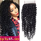 Amella Hair Brazilian Virgin Kinky Curly Hair 4x4 Swiss Lace Closure Free Part 8A 100% Unprocessed Brazilian Curly Hair Closure Natural Black Color (14inch lace closure)
