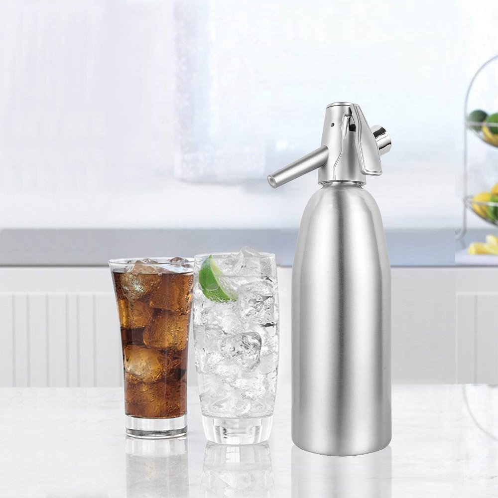 TOP-MAX Professional Soda Siphon and Seltzer Water Maker (1 Pint/1L) The Eco Carbonated Water Soda Maker Aluminum