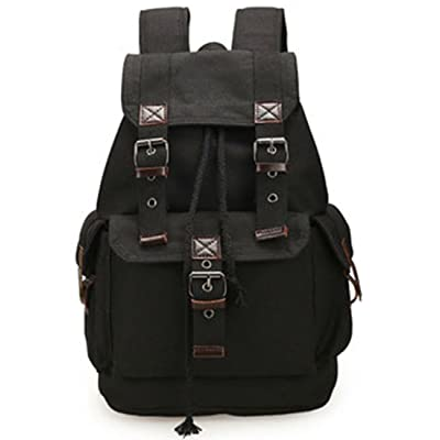 cheap Tatuer Laptop School Backpack Canvas Hiking Bag (Black)
