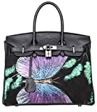 Pijushi Womens Padlock Designer Leather Tote Office Top Handle Handbags P236512-01AA (30CM, Black Butterfly)