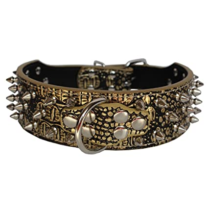 Spiked Studded Dog Collar Medium Large Walking Training Leather Collar K9 Boxer