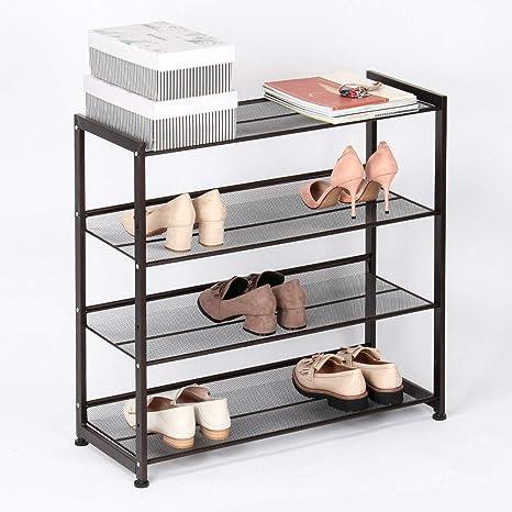 Locomotora nivel garaje  Amazon.com: J&T Jordan - Zapatero de metal ajustable organizador de zapatos  con 4 niveles, color negro: Home & Kitchen