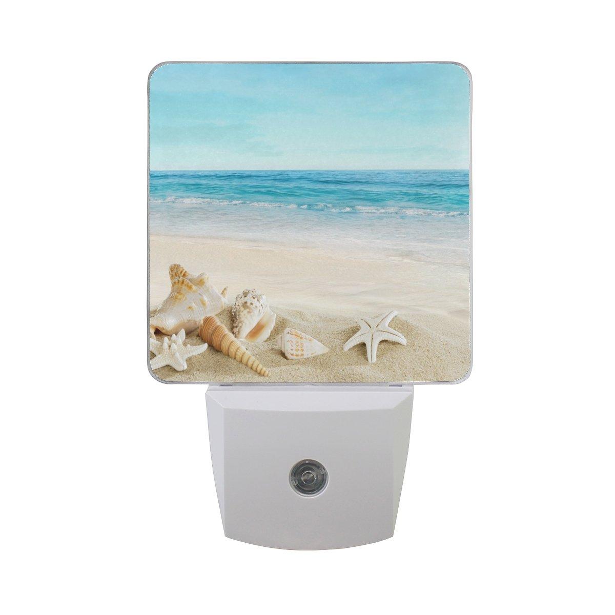 Alaza Seashells on tropical beachプラグインLED Dusk to Dawnセンサーナイトライト、cool-touchデザイン壁階段用ライト寝室キッチン、廊下、または任意暗い部屋 B07CQL7PN9 16045