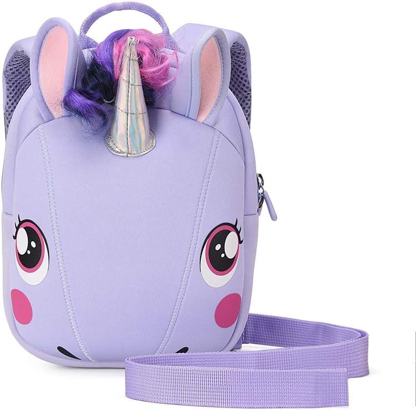 Unicorn Backpack with leash for Girls Kids Backpack Plush Unicorn Toy Bookbag (Purple)