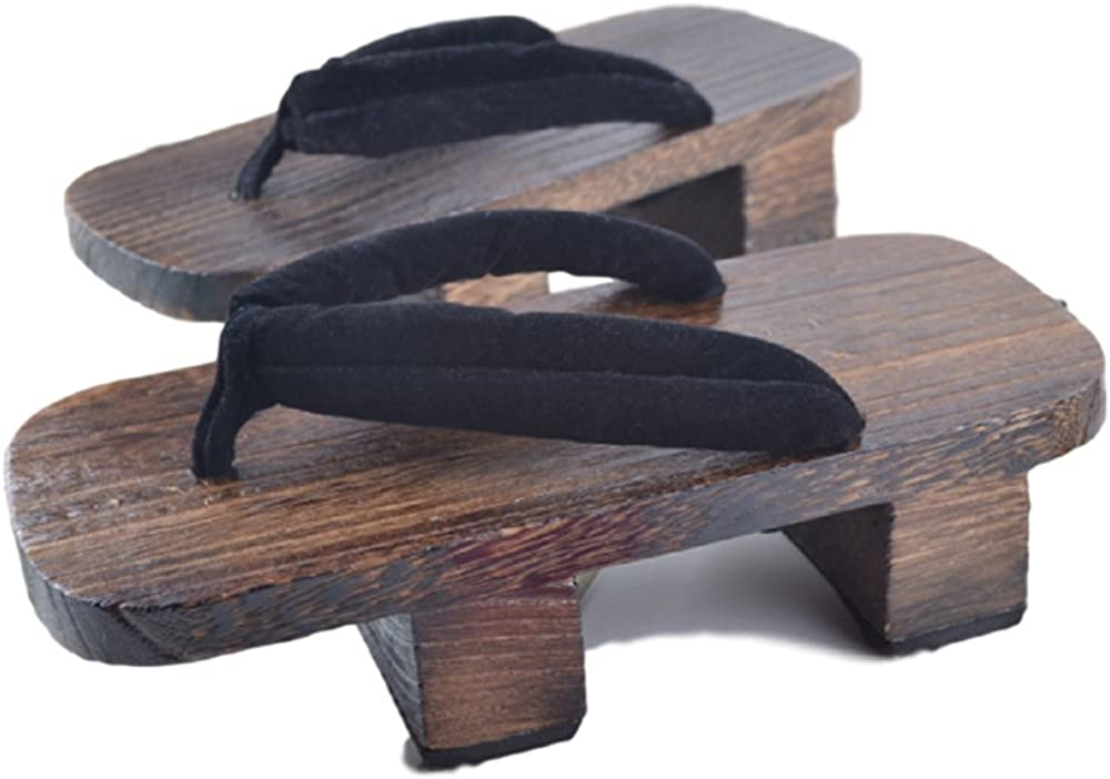 GK-O Mens Japanese Traditional Shoes Geta Wooden Clogs Sandals