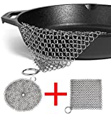 "LOOCH Cast Iron Cleaner 2 Pack- 8''x6'' and 7""x7"" More Efficient Stainless Steel Chainmail Scrubber for Cast Iron Pan Pre-Seasoned Pan Dutch Ovens Waffle Iron Pans Scraper Cast Iron Grill Scraper Skill"