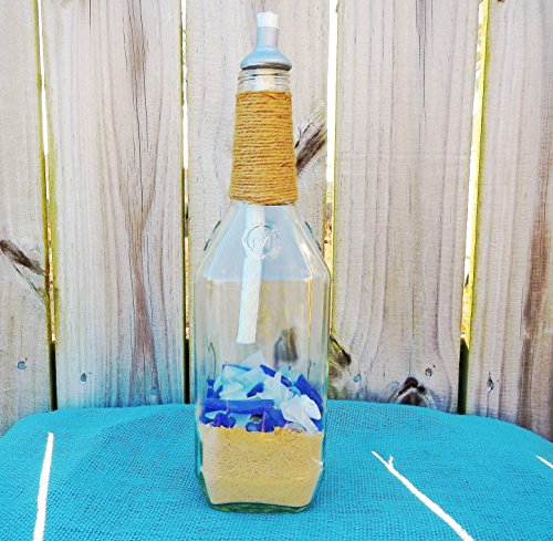 Tiki Torch Wine Bottle with Sea Glass and Sea Shells