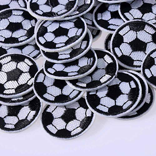 10Pcs Soccer Ball Patches Black and White Football Patches Iron On Sew On DIY Decorative Embroidered Applique for Clothes Jeans Accessories