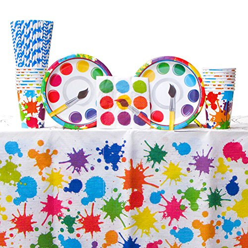 Art Party Supplies Pack Bundle for 16 Guests: Straws, Dessert Plates, Beverage Napkins, Cups, and Table Cover