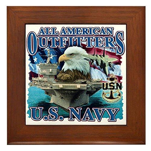 Framed Tile US Navy Eagle Flag Fighter Jet