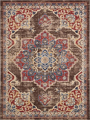 Unique Loom Utopia Collection Traditional Medallion Vintage Warm Tones Chocolate Brown Area Rug (9' 0 x 12' 0) ()