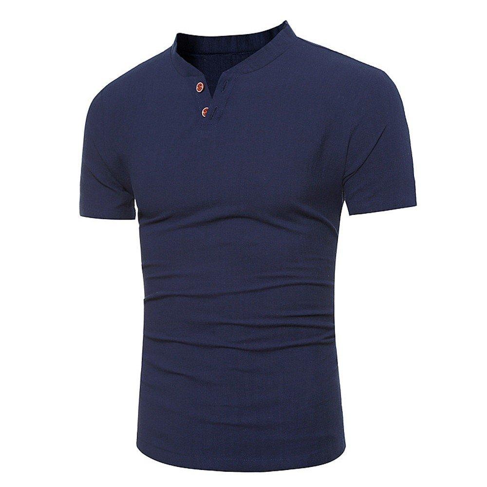 Summer Solid Linen Short Sleeve Shirt Stand Button Blouse Balakie Trendy Tops for Men