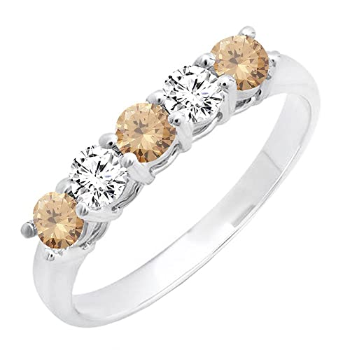 fbd10072b70e DazzlingRock Collection 14 K Oro Blanco Ladies 5 Piedra Novia Boda Banda  Aniversario Anillo  Amazon.es  Joyería
