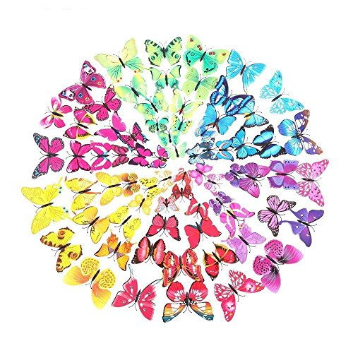 Rainbow Fox 72 Stück 3D Schmetterlinge Wandtattoo Wand Aufkleber Schmetterlinge im 3D-Style Wanddekoration Wandsticker mit Klebepunkten zur Fixierung DIY Wandverzierung Wanddeko (Klebepunkten + Magnet 12 Gelb + 12 Grün + 12 Lila + 12 Rosa +12 Blau + 12 Rot)