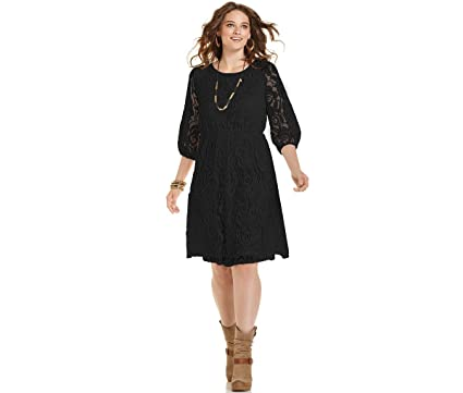 ING Plus Size Black Lace Crochet Cut Out Back Juniors Womens Dress 1X