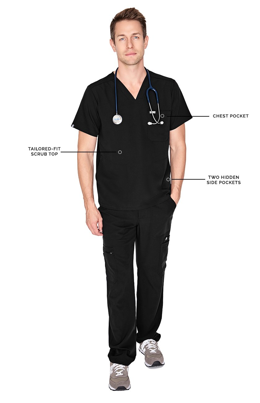 FIGS Medical Scrubs Men's Chisec Three Pocket Top (Black, XS) by FIGS (Image #2)