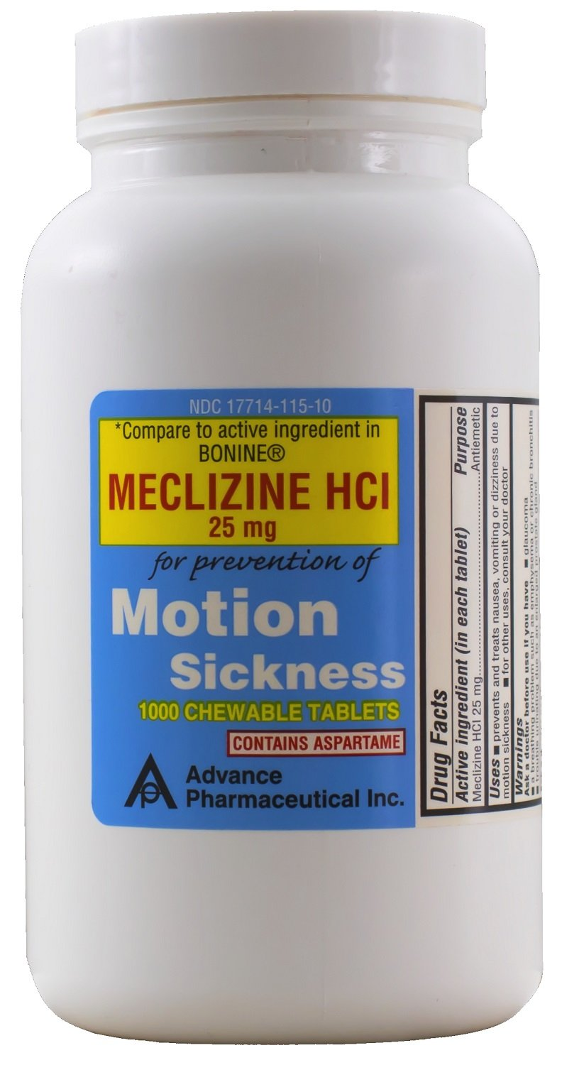 Meclizine 25 mg Generic Bonine Motion Sickness 1000 Chewable Tablets