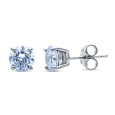 64a709437 Amazon.com: BERRICLE Rhodium Plated Sterling Silver Solitaire Anniversary  Wedding Stud Earrings Made with Swarovski Zirconia Greyish Blue Round 1.68  CTW: ...