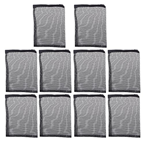 Beautyflier Pack of 10 in 9'' x 7'' Fish Tank Filter Mesh Bags with Plastic Zippers, Aquarium Pond Filter Bag