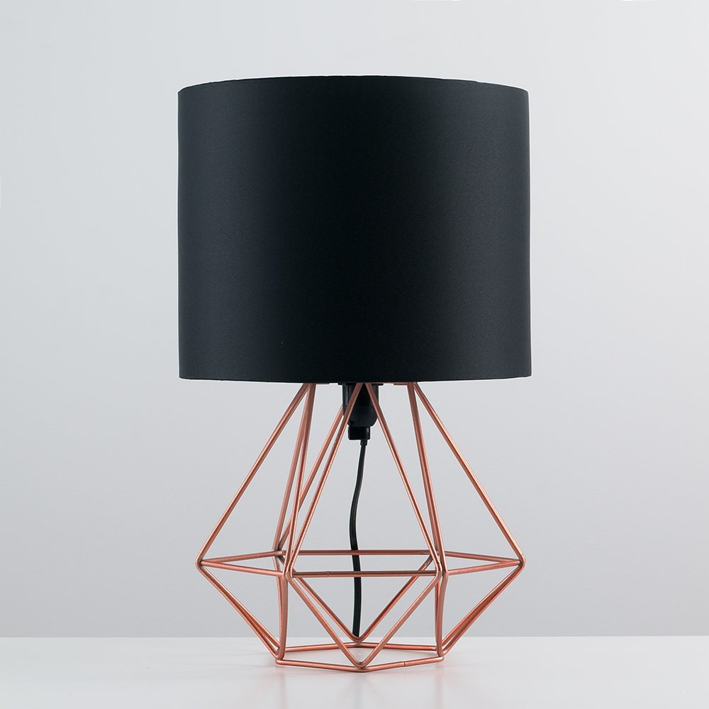 Modern copper metal basket cage style table lamp with a black fabric modern copper metal basket cage style table lamp with a black fabric shade amazon lighting greentooth Choice Image