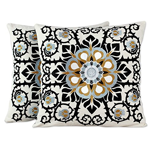 Embroidered Applique Pillow - NOVICA Set of 2 Embroidered Applique Jaipur Blossom' (Pair) Cotton Cushion Covers