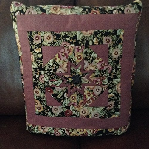 Quillow, Quilt throw, Lap Quilt, Pillow - Colorful Pansies Folded Star Quillow