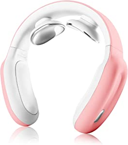 Neck Massager with Heat,Intelligent Portable Cordless Electric Neck Massagers for Home Office Outdoor Use,3 Modes and 15 Speeds,Gift for Men Women Dad Mom Parents (Pink)