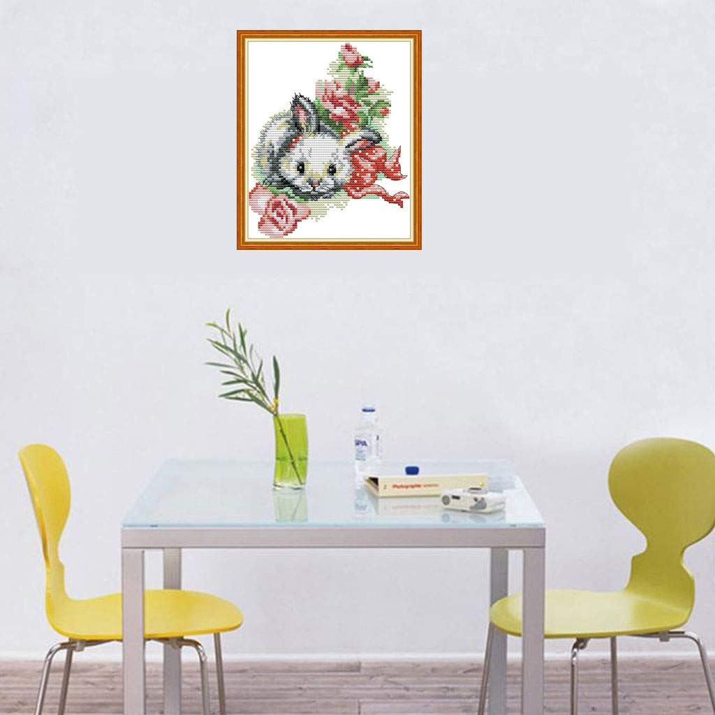 ,Printed Embroidery Kit for Home Kitchen Wall Decor DIY Counted Cross Stitch Kits for Beginners-Bunny in The Flower 1720CM