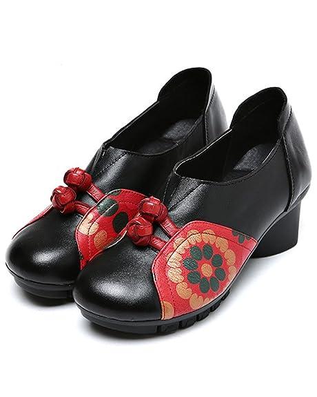 Mrs Duberess - Mocasines de Piel para Mujer Negro Negro 37 1/3: Amazon.es: Zapatos y complementos